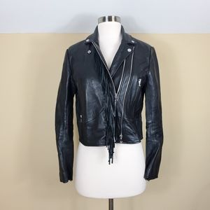 Sandro Black Manchester Leather Jacket